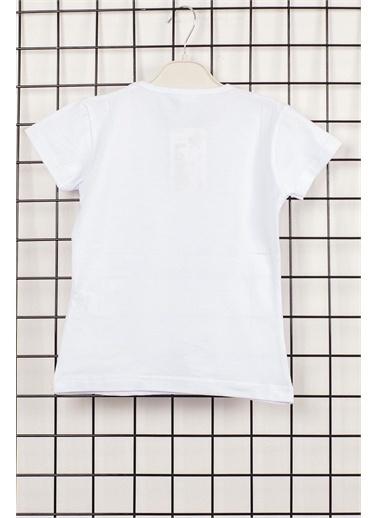 Max Değişen Payetli Ay Yıldızlı Kız Çocuk Tişört Beyaz